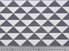 Dekostoff Dreiecke, weiss grau