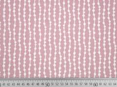 Dekostoff grafisches Muster, weiß altrosa