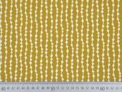 Dekostoff Grafisches Muster, weiß senfgelb