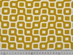 Dekostoff Labyrinth, weiß/senfgelb