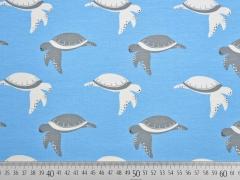 RESTSTÜCK 48 cm Jersey Schildkröten, grau weiß auf hellblau