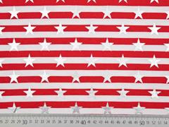 Jersey Streifen Sterne Glitzer, rot weiß