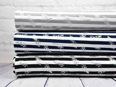 Jersey Streifen Federn Glitzer, schwarz weiß
