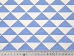 Dekostoff Dreiecke, jeansblau weiss