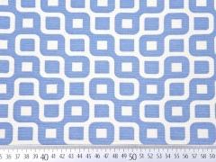 Dekostoff Labyrinth, weiß/jeansblau