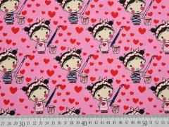 Jersey Mädchen & Herzen, rosa