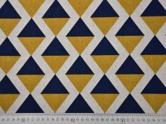 Dekostoff Dreiecke Rauten, ocker dunkelblau