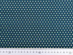 Baumwollstoff Mini Sterne 0,4 cm, gold auf tannengrün