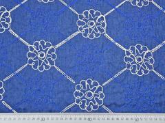 Jeansstoff bestickt Blumen, natur jeansblau