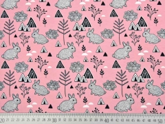 Jersey skandinavischer Look Hasen & Dreiecke, rosa
