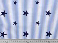 Baumwollstoff Deluxe Streifen Sternen hellblau