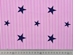 BW Popelin Deluxe Streifen Sternen, rosa