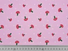 Baumwollstoff Voile Pilze Punkte,rot grün rosa