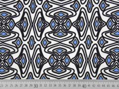 Viskose Leinenstoff grafisches Muster Rauten blau weiß