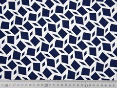 Viskosejersey Rauten grafisches Muster, dunkelblau