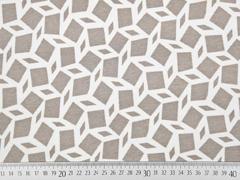 RESTSTÜCK 128 cm Viskosejersey Rauten grafisches Muster, beige
