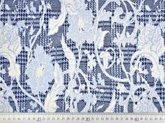 Jacquard Strickjersey Hahnentritt Blumen, ecrue hellblau