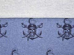 French Terry Sweat Piraten Säbel, jeansblau