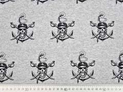French Terry Sweat Piraten Säbel, grau melange
