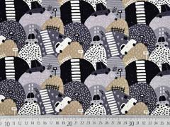 French Terry Autos Berge, grau schwarz beige
