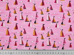 RESTSTÜCK 25 cm Jersey kleine Segelboote, rosa