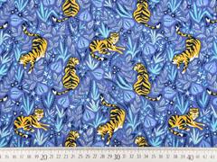 RESTSTÜCK 62 cm Jersey Tiger florales Muster, jeansblau