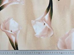 Samtjersey elastisch Callas Blumen, beige sand