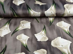 Samtjersey elastisch Callas Blumen, taupe creme