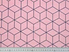 Dekostoff Würfelmuster, dunkelblau auf rosa