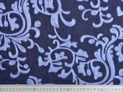 Jeansstoff Stickerei Ranken, hellblau auf dunkelblau