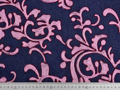 RESTSTÜCK 79 cm Jeansstoff Stickerei Ranken, rosa auf dunkelblau