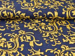 Jeansstoff Stickerei Ranken, gold/ocker auf dunkelblau