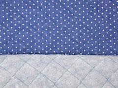 Steppstoff Jeans wattiert Pünktchen, jeansblau