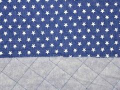 Steppstoff Jeans wattiert Sterne, jeansblau