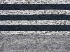 Strickstoff Streifen angeraut, blaugrau