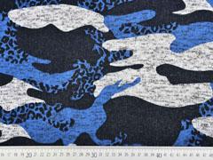 Strickstoff Camouflage angeraut, blau