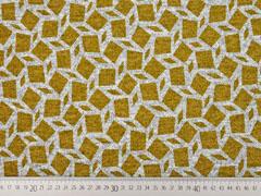 Strickjersey grafisches Muster Rauten, ocker