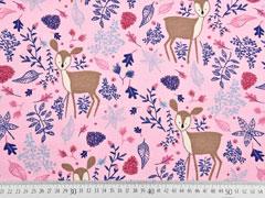 Dekostoff Rehe Blätter, rosa