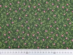Baumwollstoff Blumenranken Trachtenlook, moosgrün