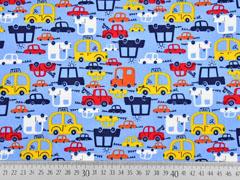 Baumwollstoff Autos, rot gelb hellblau