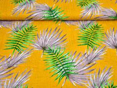 Baumwolle Viskose Palmblätter, grün grau ocker