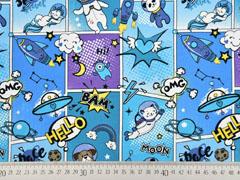 Jersey Comic Einhörner Raketen Hunde, blau