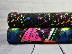 RESTSTÜCK 70 cm Jersey Neon Sterne wilde Linien bunt, schwarz