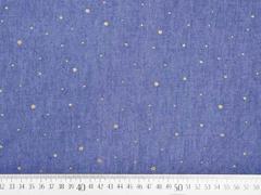 Jeansstoff goldene Glitzerpunkte, jeansblau