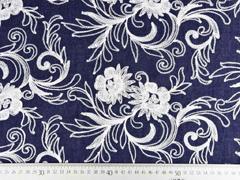 Jeansstoff bestickt Blumenranken, dunkles jeansblau