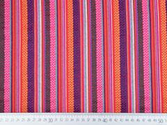RESTSTÜCK 42 cm Mexiko Stoff  Streifen & Borten Zickzack, rot pink
