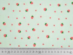Voile Baumwolle Erdbeeren, hellgrün