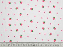Baumwollstoff Voile Erdbeeren, grün pink weiß