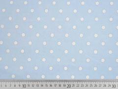 Baumwollstoff Voile weiße Punkte, hellblau