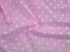 Baumwollstoff Voile Punkte, weiß rosa